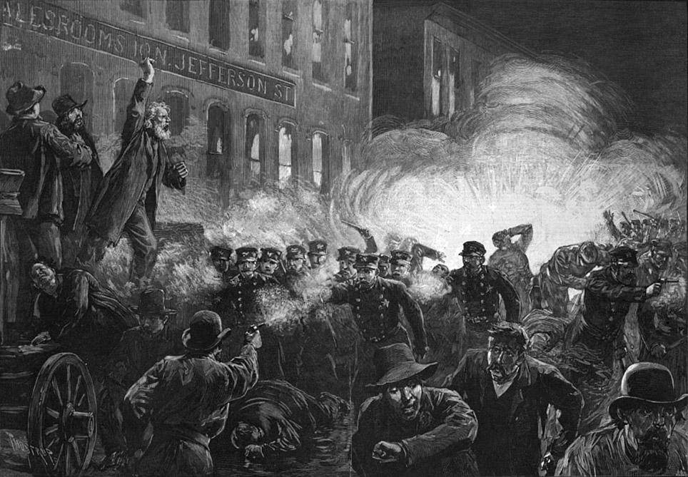 Najraširenija ilustracija prosvjeda u Chicagu 1. svibnja 1896.